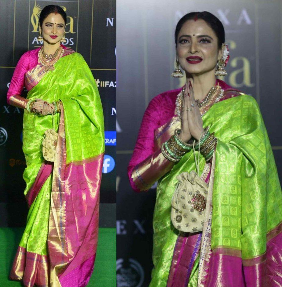 rekha in green and pink kanjeevaram saree (1)