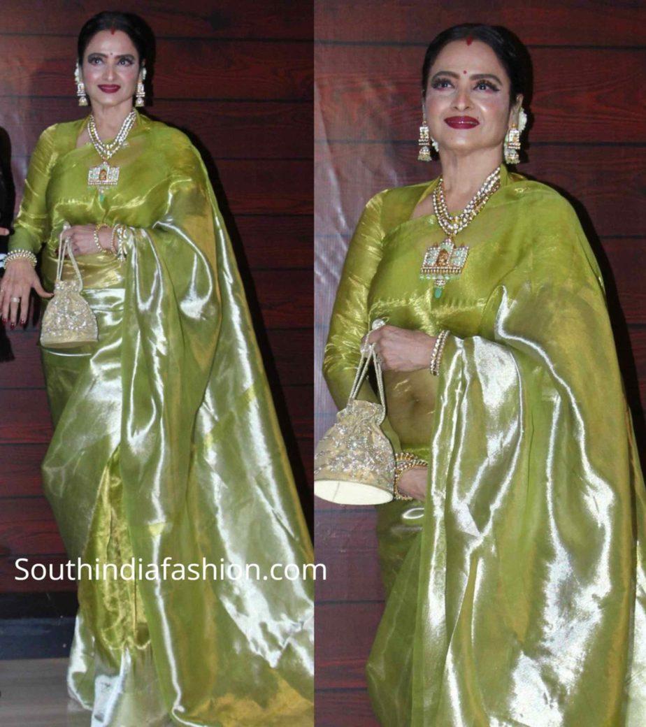 rekha in green tissue kanjeevaram saree