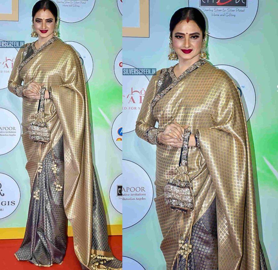 rekha in half and half kanjivaram saree