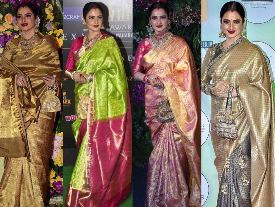 rekha in kanjivaram silk sarees
