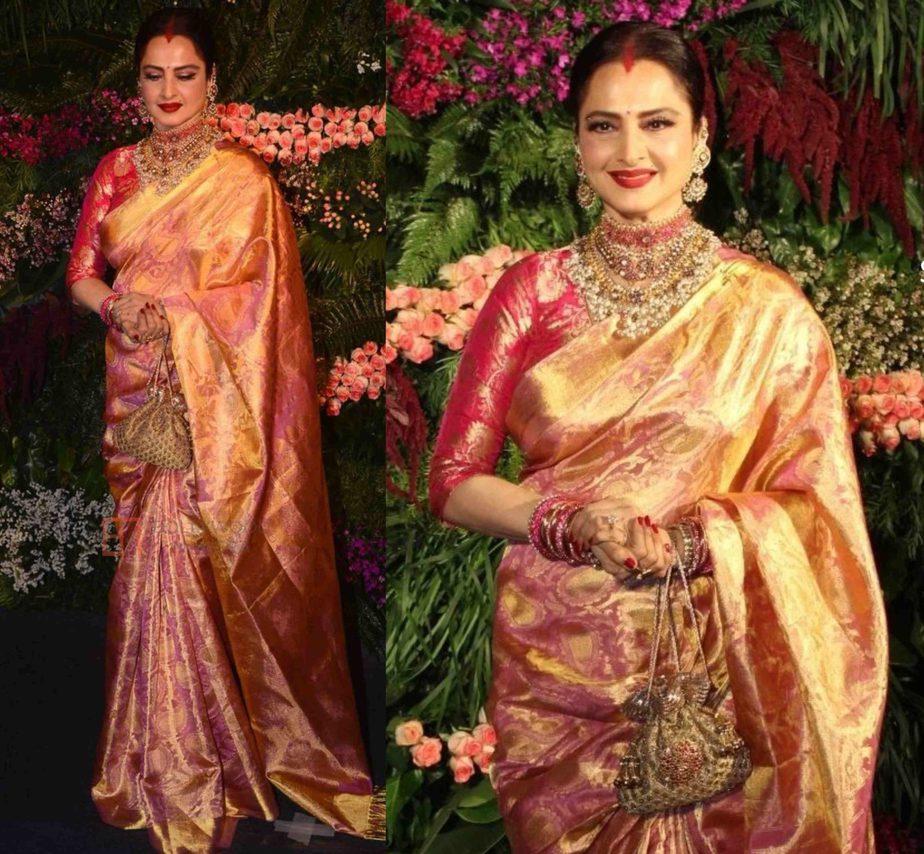 rekha in pink janjeevaram saree