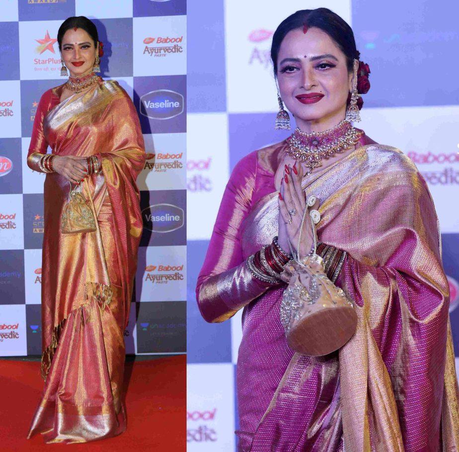 rekha in pink kanjivaram saree