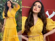sana khan yellow coordinates
