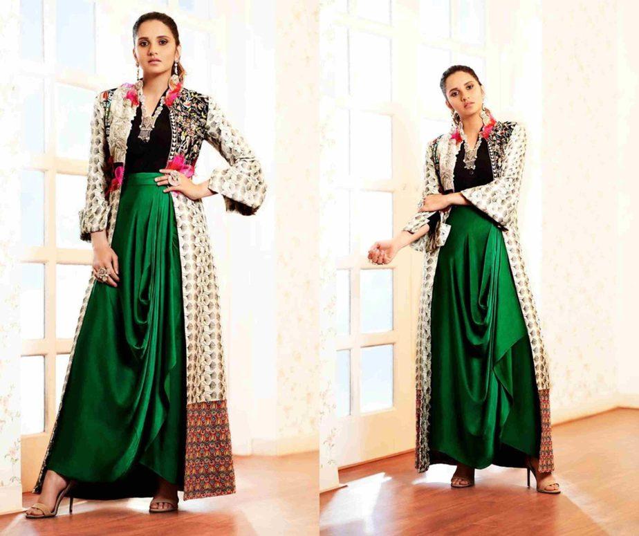 sania mirza in green skirt and printed long jacket