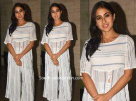 sara ali khan simple white striped slit kurta and palazzos