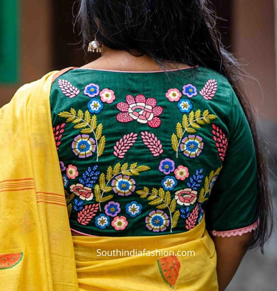 saree blouse with embroidery on back