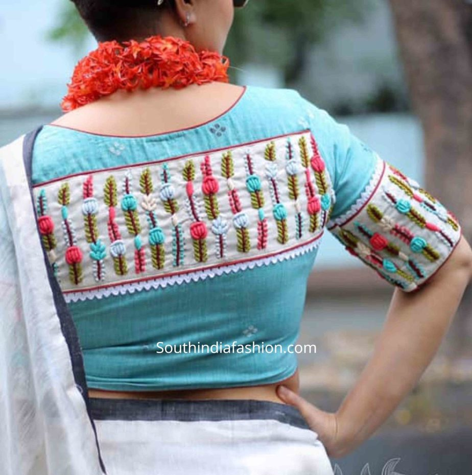 saree blouse with leaf embroidery on back (1)