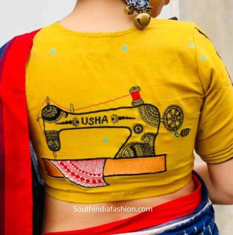 saree blouse with quirky embroidery