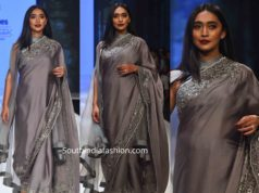 sayani gupta grey saree by dev r nil at bombay times fashion week