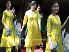 shanaya akpoor in casual yellow kurta set