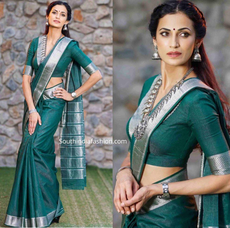 shilpa reddy in green maheswari silk saree