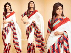 shilpa shetty in a striped saree