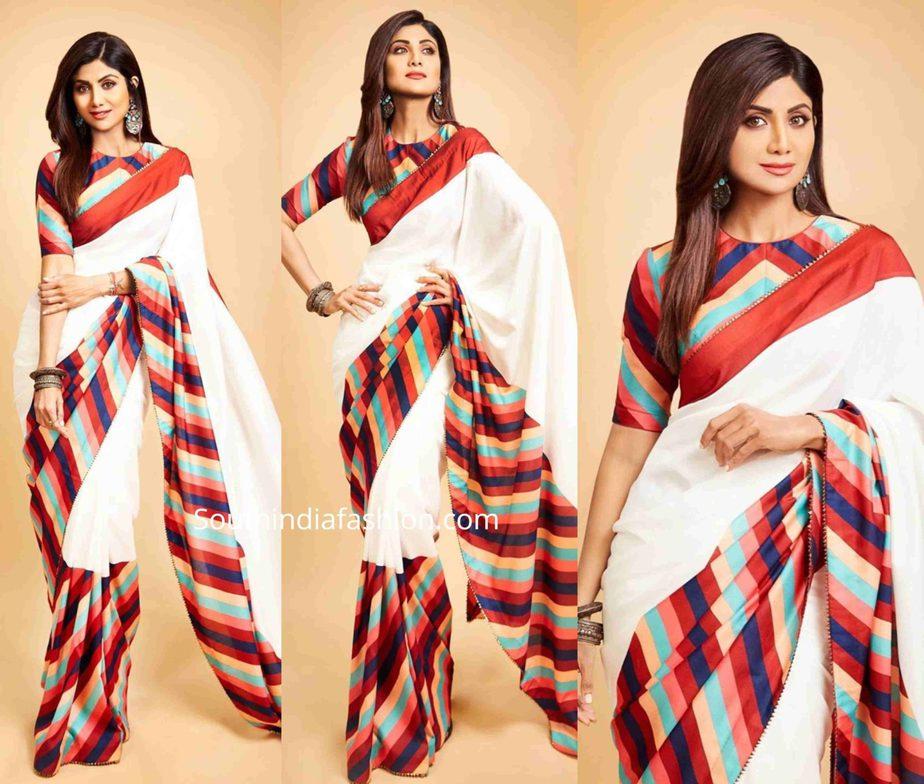 shilpa shetty in a striped saree