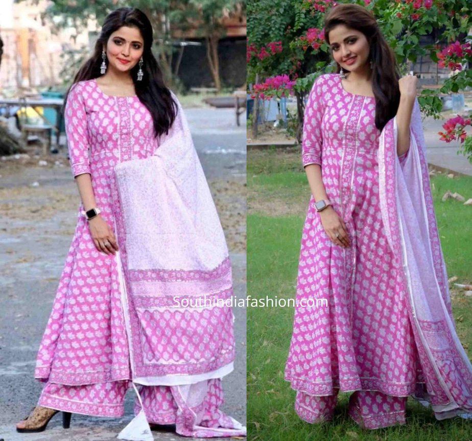 shirin kanchwala pink and white printed palazzo suit