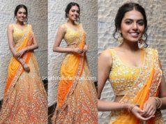 shivani rajasekhar in yellow orange lehenga at jayasudha son wedding