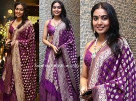 shivatmika rajasekhar in purple lehenga at jayasudha son wedding