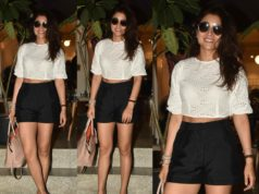shriya saran casual look black shorts and white crop top