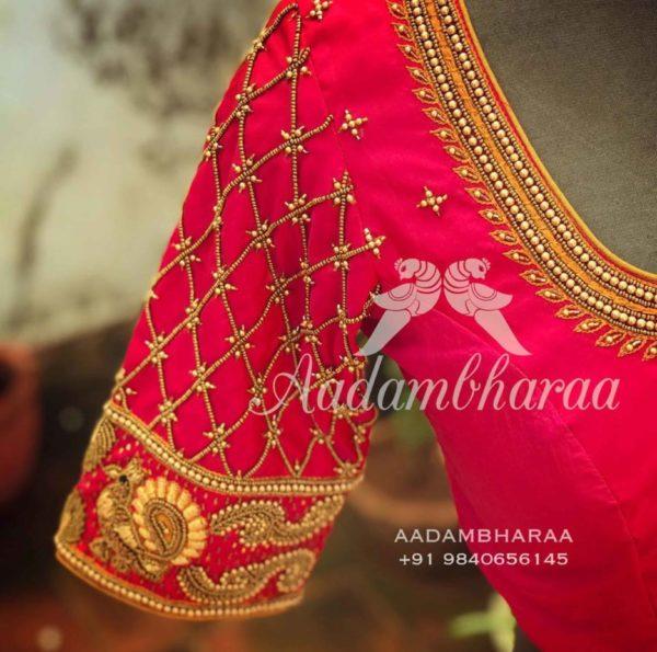 simple maggam work pattu blouse designs