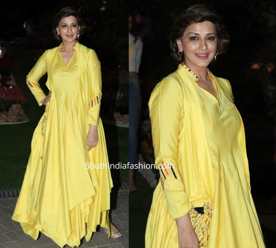 sonali bendre in yellow anarkali suit at isha ambani holi party