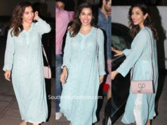 sophie choudry in blue chikankari kurta with white cigarette pants