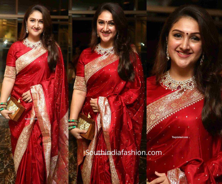 sridevi vijaykumar in red banarasi silk saree at jayasudha son wedding reception
