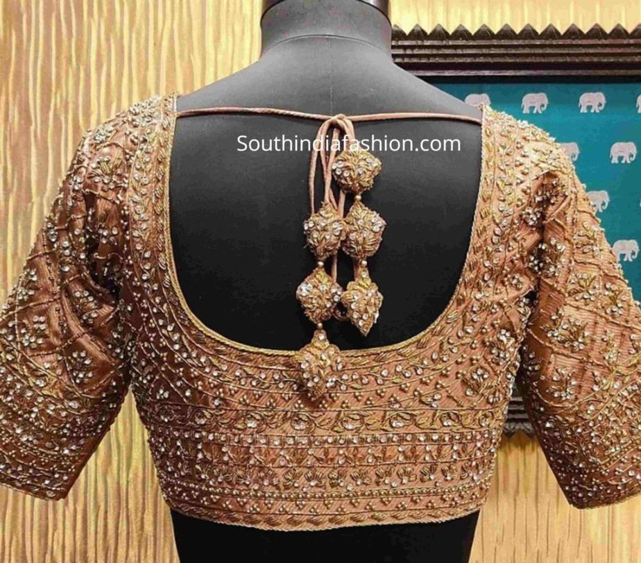 stone work blouse for pattu sarees