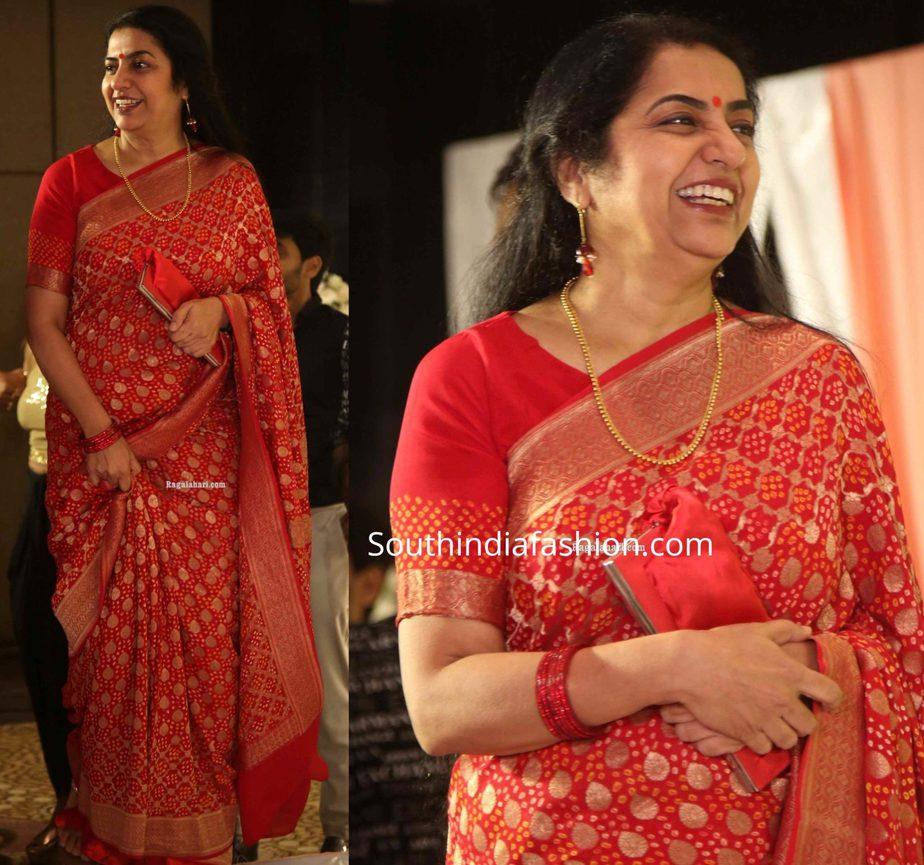 suhasini manirathnam in red banarasi silk saree at jayasudha son wedding