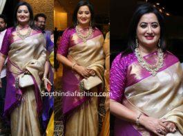 sumalatha in gold kanjeevaram saree at jayasudha son wedding reception