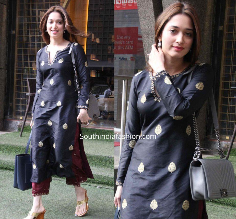 tamannaah bhatia black kurta maroon palazzo pants (2)