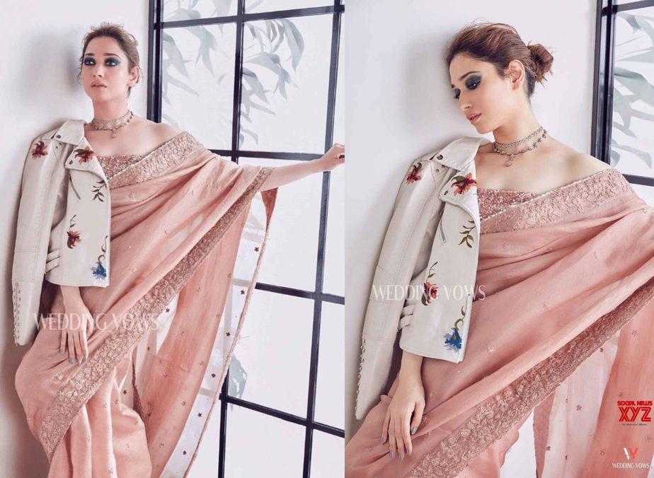 tamannah bhatia salmon pink saree floral jacket