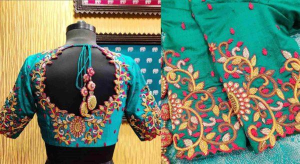 Teal blue maggam thread work bridal blouse design
