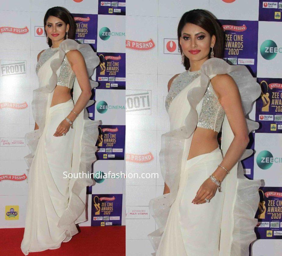 urvashi rautela in white ruffle saree at zee cine awards