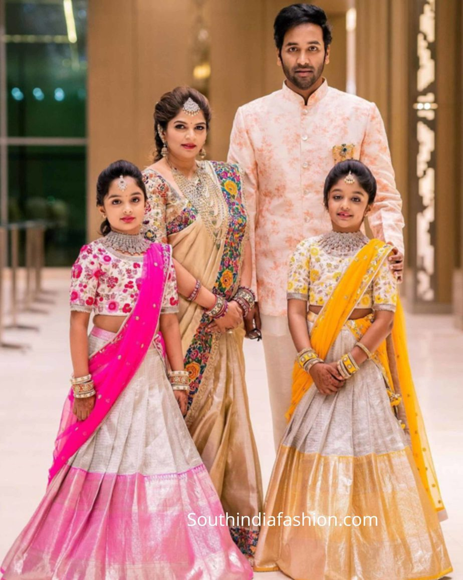 viranica manchu family in ethnic wear at a wedding
