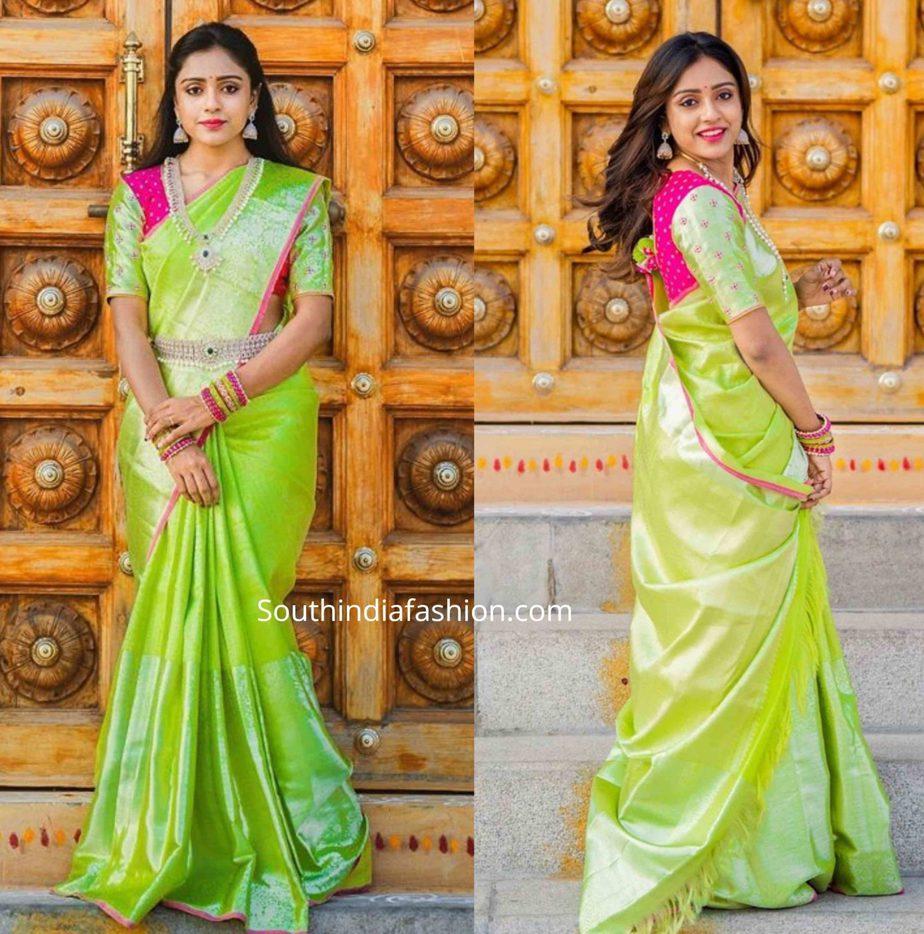 vithika sheru green pattu saree ugadi (3)