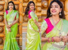 vithika sheru green pattu saree ugadi