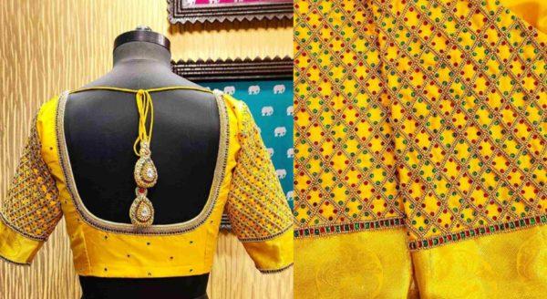 yellow zari stone work blouse