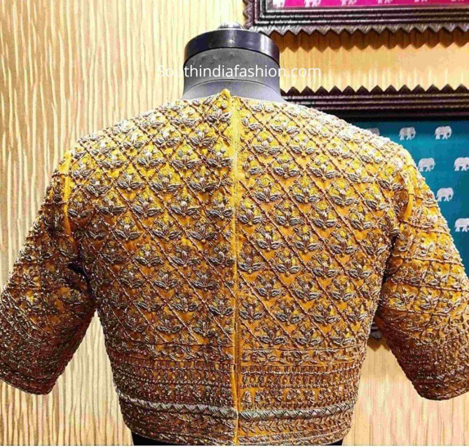 zardosi embroidery blouse for pattu sarees