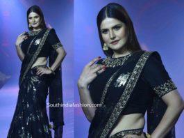 zareen khan vikram phadnis black saree at beti fashion show