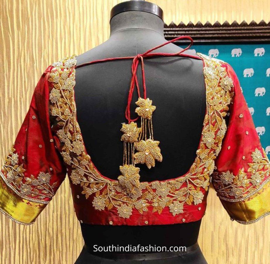 aari work blouse with customized tassels