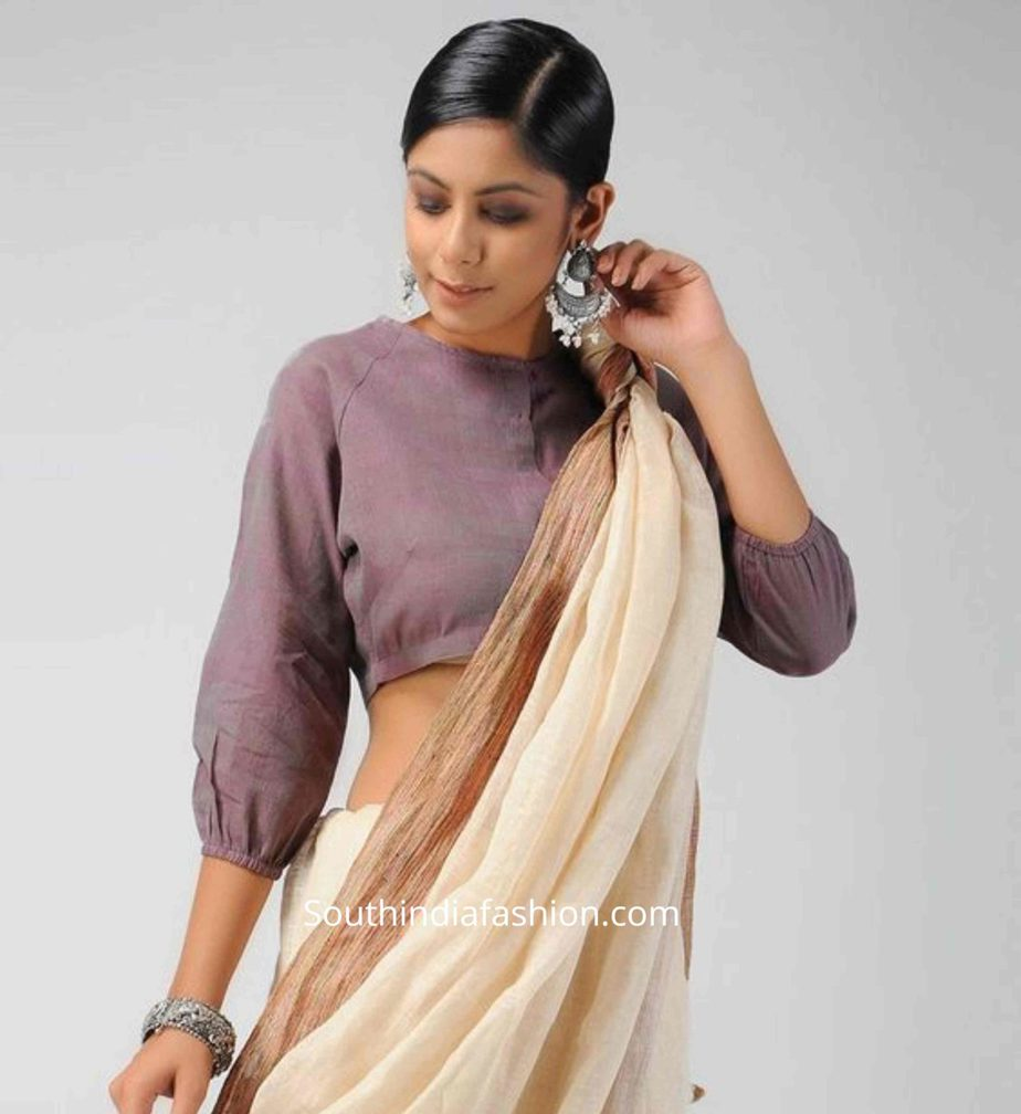balloon sleeves blouse designs for sarees (8)