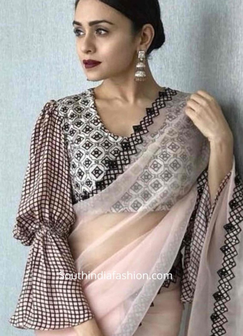balloon sleeves blouse designs for sarees (9)