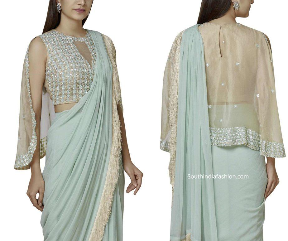 designer cape sleeves saree blouse (1)