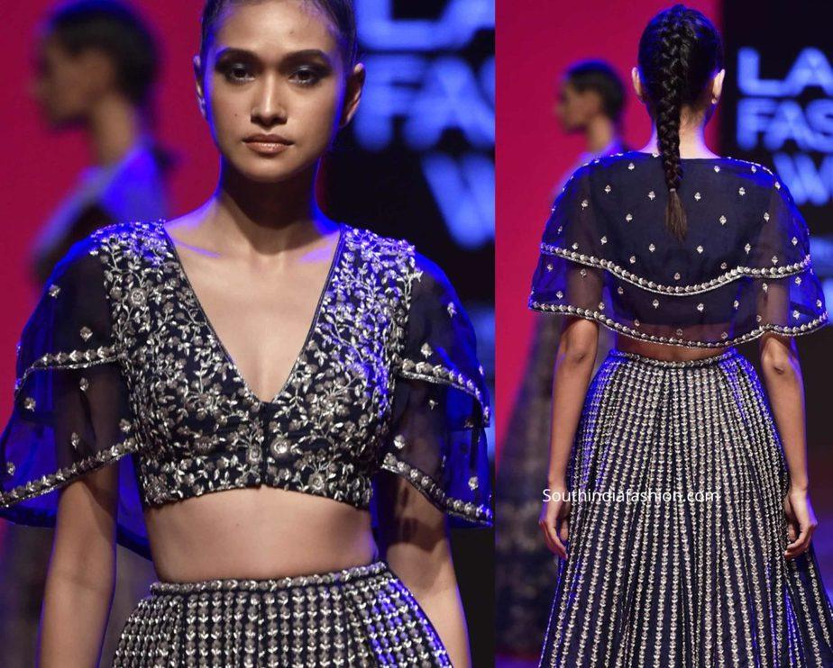 designer cape sleeves saree blouse
