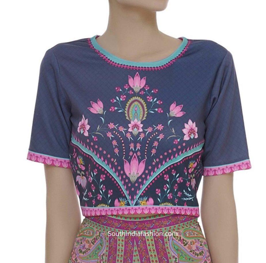 floral design printed crop top blouse