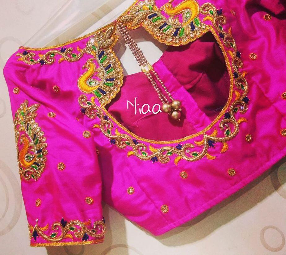hot pink maggam blouse