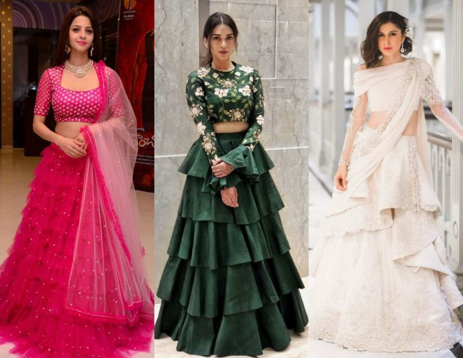 layered frilled lehengas for brides