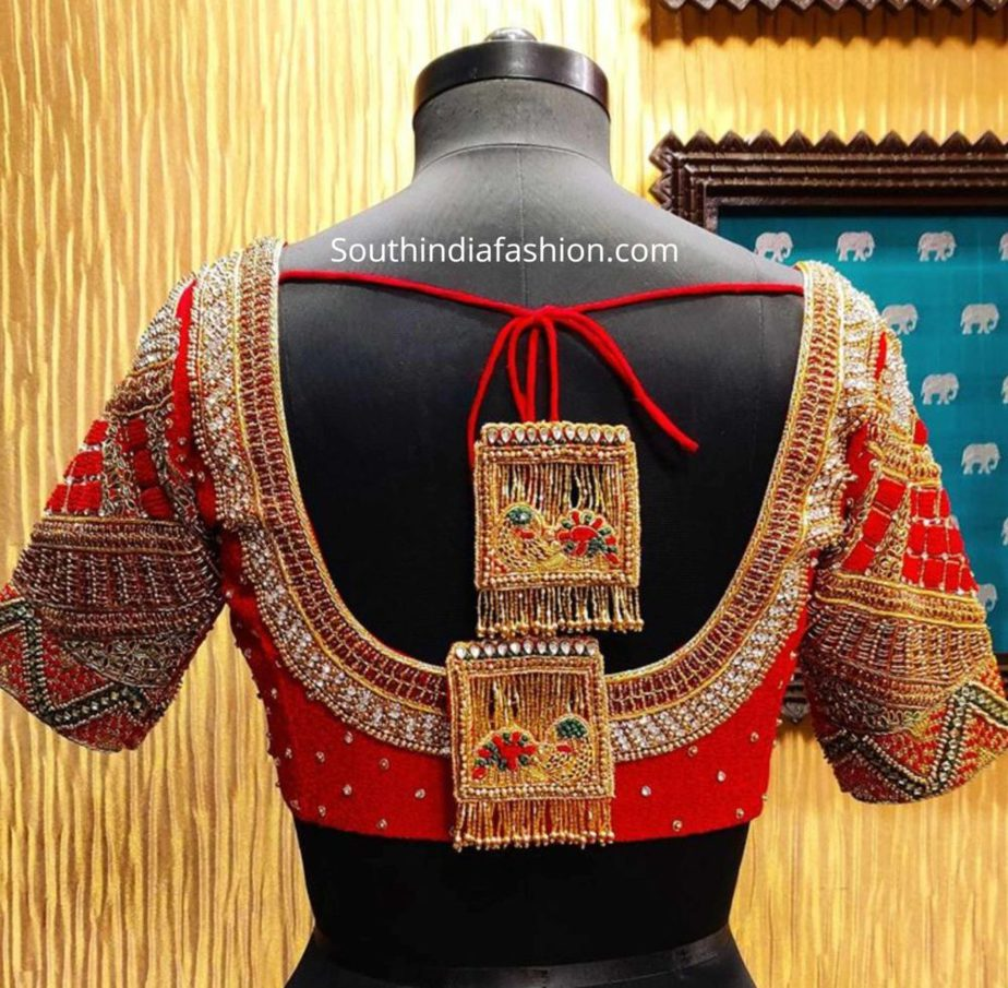 maggam work blouse with customized tassels