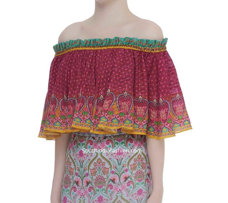 off shoulder crop top cape blouse for saree