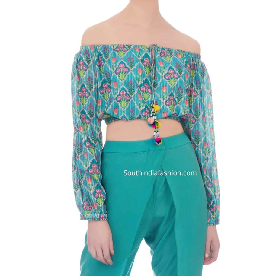 off shoulder printed top with dhoti pants