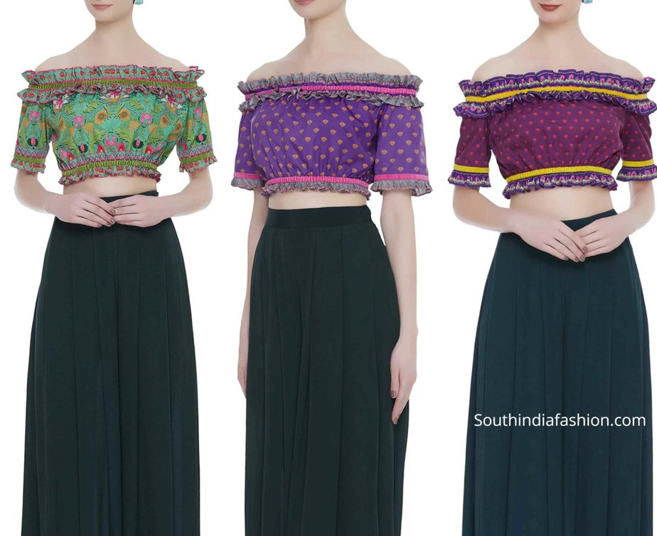 off shoulder readymade crop tops for sarees and lehengas